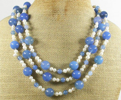 BLUE AGATE FW WHITE PEARLS 3ROW NECKLACE