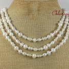 NATURAL FRESH WATER WHITE PEARLS 3ROW NECKLACE