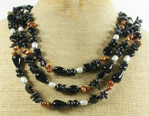 BLACK AGATE ONYX CORAL FRESH WATER PEARLS 3ROW NECKLACE