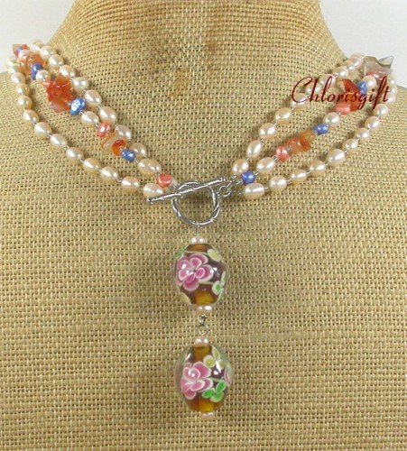 FLOWER LAMPWORK AGATE FW PEARL 3ROW NECKLACE