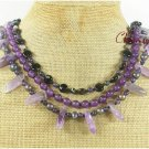 AMETHYST & BLACK AGATE & FW PEARL 3ROW NECKLACE