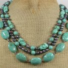 TURQUOISE & FRESH WATER PEARLS 3ROW NECKLACE
