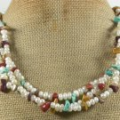 TURQUOISE & MOOKITE & FW PEARLS 3ROW NECKLACE