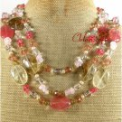 TIGER QUARTZ CRYSTAL FW PEARL 3ROW NECKLACE