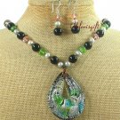 MURANO GLASS CRYSTAL PEARLS NECKLACE/EARRINGS SET