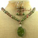 NATURAL UNAKITE NECKLACE/EARRINGS SET