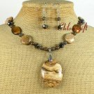 PICTURE JASPER BROWN JASPER NECKLACE/EARRINGS SET