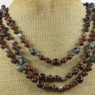 MAHOGANY OBSIDIAN & BLACK LABORADITE 3ROW NECKLACE