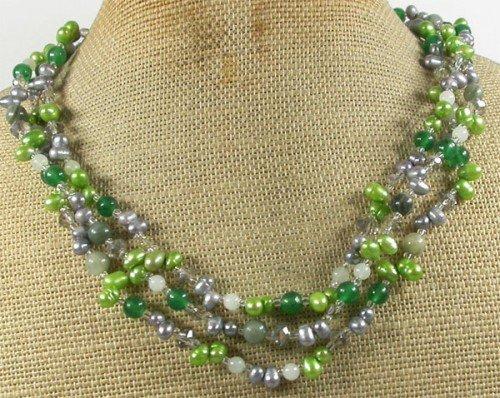 GREEN RUTILATED JASPER JADE CRYSTAL PEARL 3ROW NECKLACE