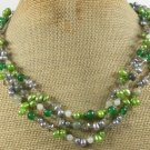 GREEN RUTILATED JASPER JADE CRYSTAL PEARL 3ROW NECKLACE