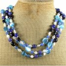 BLUE JADE AGATE CAT EYE GOLDSTONE PEARLS 3ROW NECKLACE