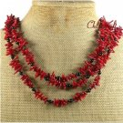 NATURAL RED CORAL BLACK AGATE 3ROW NECKLACE