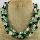 TURQUOISE BLACK AGATE SERPENTINE JADE 3ROW NECKLACE
