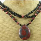 RED BROWN PICTURE JASPER BLACK AGATE 3ROW NECKLACE