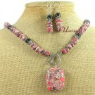 RED AFRICAN TURQUOISE BLACK AGATE NECKLACE/EARRINGS SET