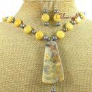 CRAZY AGATE & YELLOW JADE & PEARL NECKLACE/EARRINGS SET
