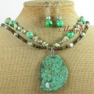 TURQUOISE AGATE PEARLS 2ROW NECKLACE/EARRINGS SET