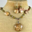 PICTURE JASPER & FW PEARLS NECKLACE/EARRINGS SET