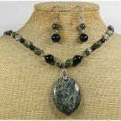 MILITARY JASPER BLACK AGATE NECKLACE/EARRINGS SET