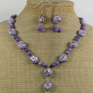 PURPLE AFRICAN TURQUOISE JASPER NECKLACE/EARRINGS SET