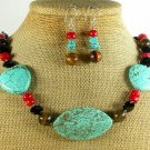 TURQUOISE CORAL TIGER EYE AGATE NECKLACE/EARRINGS SET