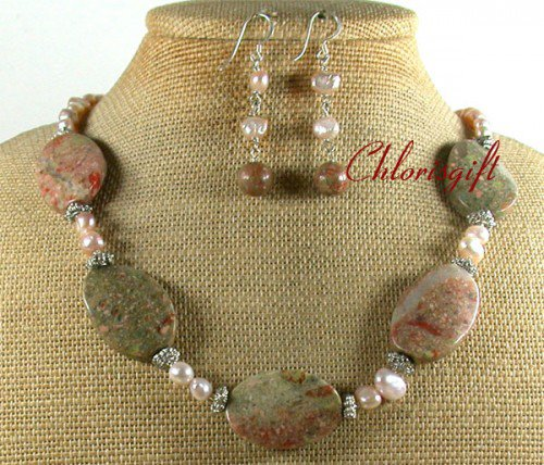 NATURAL AUTUMN JASPER FW PEARL NECKLACE/EARRINGS SET