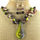 MURANO GLASS AGATE CAT EYE NECKLACE/EARRINGS SET