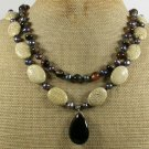 WHITE TURQUOISE BLACK AGATE PEARLS 2ROW NECKLACE