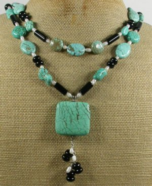 TURQUOISE BLACK AGATE FRESH WATER PEARLS 2ROW NECKLACE