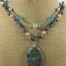 CRAZY LACE AGATE LABORADITE CRYSTAL PEARL 2ROW NECKLACE