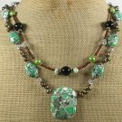 .GREEN AFRICAN TURQUOISE BLACK AGATE PEARL 2ROW NECKLACE