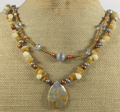 FOSSIL AGATE YELLOW JADE CRYSTAL PEARLS 2ROW NECKLACE