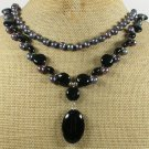 BLACK AGATE & FRESH WATER PEARLS 2ROW NECKLACE