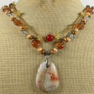 CRAZY LACE AGATE & CITRINE & CRYSTAL 2ROW NECKLACE