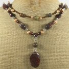 IMPERIAL JASPER RED TIGER EYE PEARLS 2ROW NECKLACE