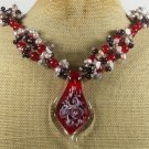 MURANO GLASS & RED JADE & GARNET & PEARL NECKLACE