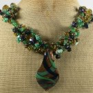 MURANO GLASS & GREEN JADE & GOLDSTONE & AGATE NECKLACE