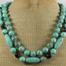TURQUOISE & DARK BLUE GOLDSTONE 2ROW NECKLACE