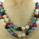 JADE AGATE GOLDSTONE PINK AVENTURINE 2ROW NECKLACE