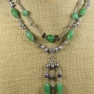 GREEN JADE SMOKY CRYSTAL FW PEARLS 2ROW NECKLACE