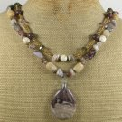 BROWN PICASSO JASPER & AGATE & CRYSTAL 2ROW NECKLACE