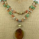 ORANGE AGATE & GREEN JADE & HONEY JADE 2ROW NECKLACE