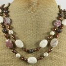 WHITE TURQUOISE CRAZY AGATE JASPER PEARLS 2ROW NECKLACE