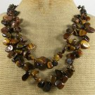 TIGER EYE & FRESH WATER PEARLS 2ROW NECKLACE