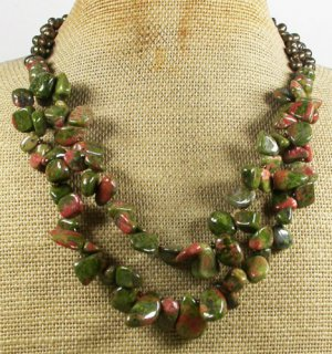 UNAKITE & FRESH WATER PEARLS 2ROW NECKLACE