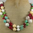TURQUOISE JADE CORAL TRIDACNA 2ROW NECKLACE