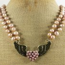 COPPER WINGS & FRESH WATER PEARLS 2ROW NECKLACE