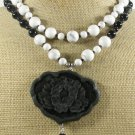 BLACK CINNABAR & AGATE & WHITE TURQUOISE 2ROW NECKLACE
