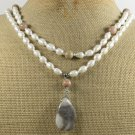 CRAZY LACE AGATE & FRESH WATER PEARLS 2ROW NECKLACE