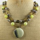 BUTTER JADE OLIVE JADE PICASSO JASPER 2ROW NECKLACE